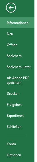 Datei Menü in Excel