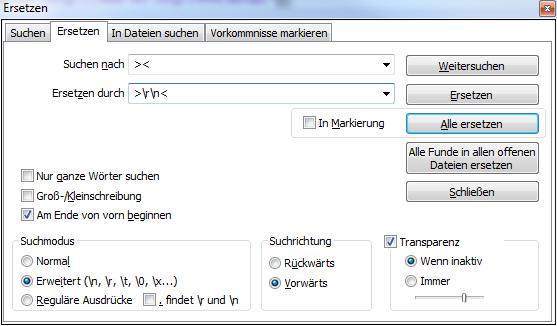 Notepad++ Ersetzen Dialog