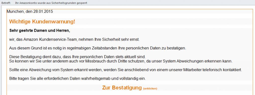 Phisihin Email: Ihr Amazonkonto wurde aus Sicherheitsgrunden gesperrt - Nachricht (HTML)
