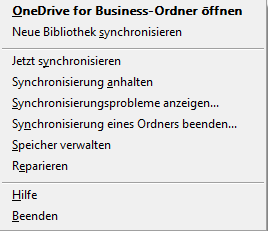 OneDrive fir Business Kontext Menü